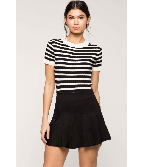Imbracaminte Femei CheapChic Striped Contrast Ribbed Tee WhiteBlack Pattern