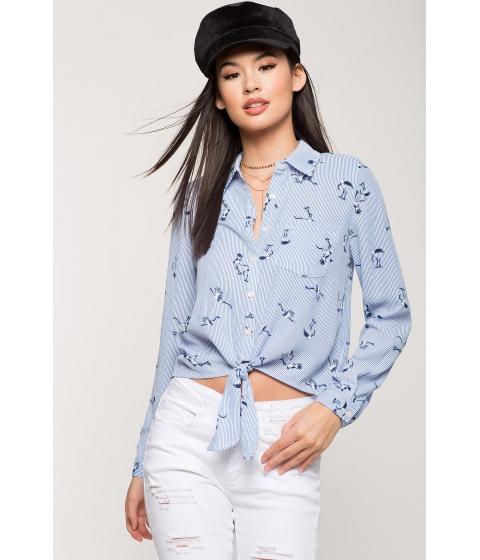 Imbracaminte Femei CheapChic Novelty Tie Front Shirt Blue Print