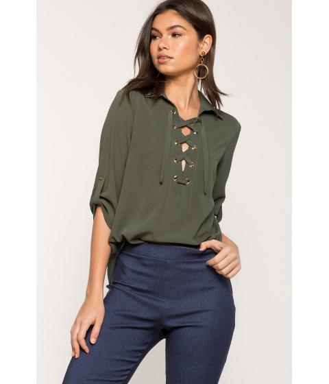 Imbracaminte Femei CheapChic Becca Lace Up Shirt Olive