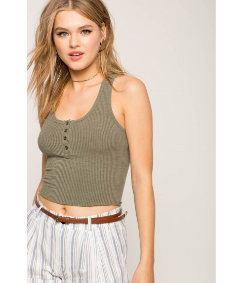 Imbracaminte Femei CheapChic Button Front Crop Tank Olive