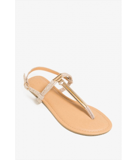 Incaltaminte Femei CheapChic Lets Metal Together Sandal Champagne