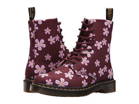 Incaltaminte Femei Dr Martens Page Meadow 8-Eye Boot White MeadowCherry Red T-Canvas