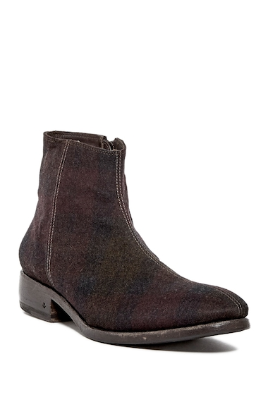 Incaltaminte Barbati John Varvatos Collection Keith Center Seam Suede Zip Boot OXBLOOD