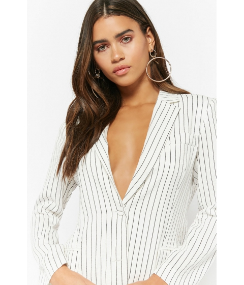 Imbracaminte Femei Forever21 Single-Breasted Pinstriped Blazer IVORY