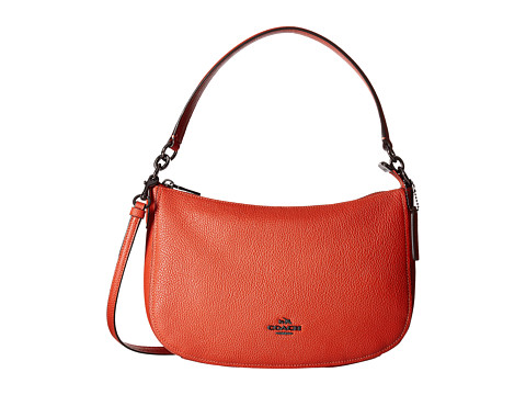 Genti Femei COACH Pebble Chelsea Crossbody DkVermillion