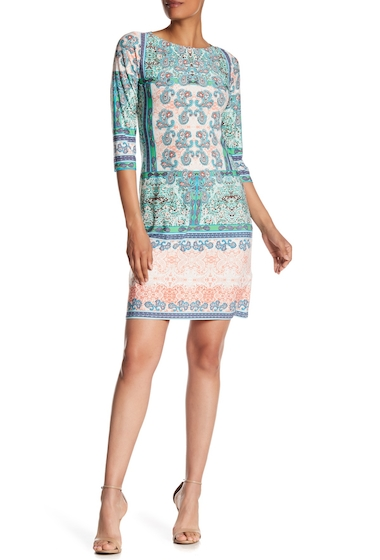 Imbracaminte Femei London Times Printed Elbow Sleeve Shift Dress PEACH MINT