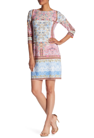 Imbracaminte Femei London Times Printed Elbow Sleeve Shift Dress BLUE PINK