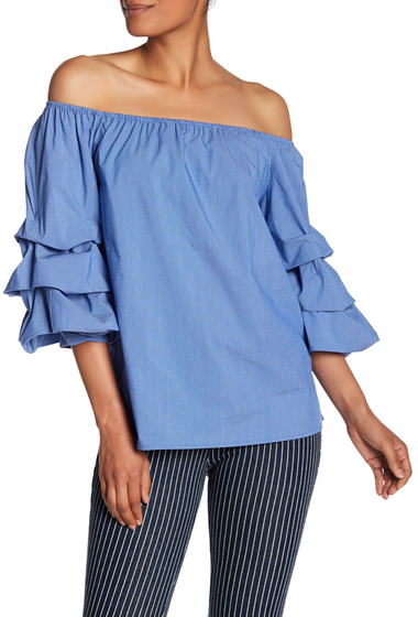 Imbracaminte Femei Philosophy Apparel Ruffled Sleeve Off The Shoulder Blouse BLUE WHITE STRIPE