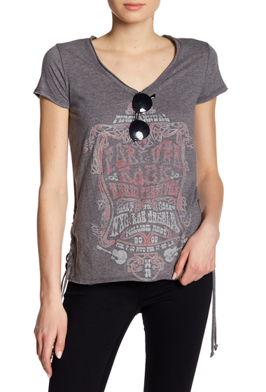 Imbracaminte Femei William Rast Carson Lace-Up Graphic Print Tee PSYCHEDELIC ROCK- CHARCOAL