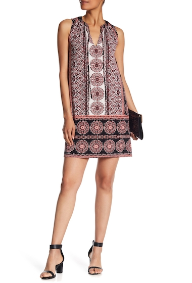 Imbracaminte Femei London Times Printed Tie Neck Shift Dress RED