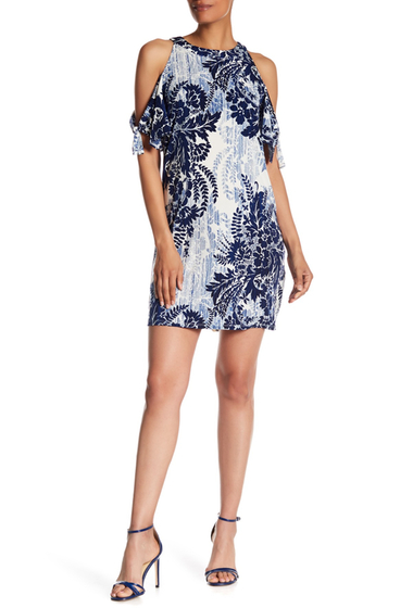 Imbracaminte Femei London Times Floral Printed Cold Shoulder Shift Dress BLUE