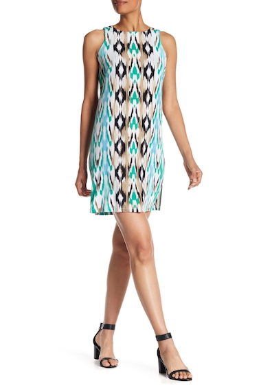 Imbracaminte Femei London Times Ikat Printed Shift Dress GREEN MULT