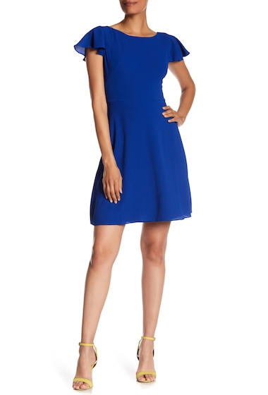 Imbracaminte Femei London Times Solid Catalina Crepe Fit Flare Dress AZURE
