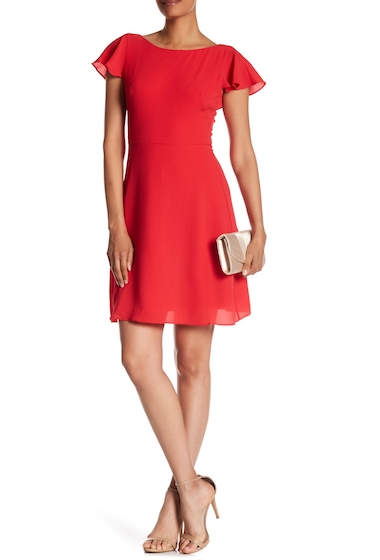 Imbracaminte Femei London Times Solid Catalina Crepe Fit Flare Dress RED