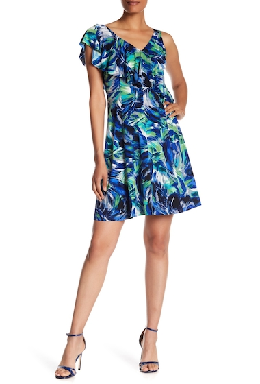Imbracaminte Femei London Times Printed Ruffle Shoulder Dress BLUE MULTI