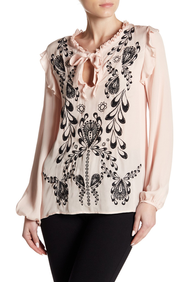 Imbracaminte Femei Cynthia Rowley Embroidered Silk Blouse CHAMPAGNE