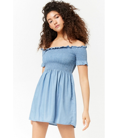 Imbracaminte Femei Forever21 Smocked Off-the-Shoulder Dress DENIM
