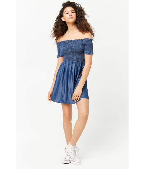 Imbracaminte Femei Forever21 Smocked Off-the-Shoulder Dress DARK DENIM
