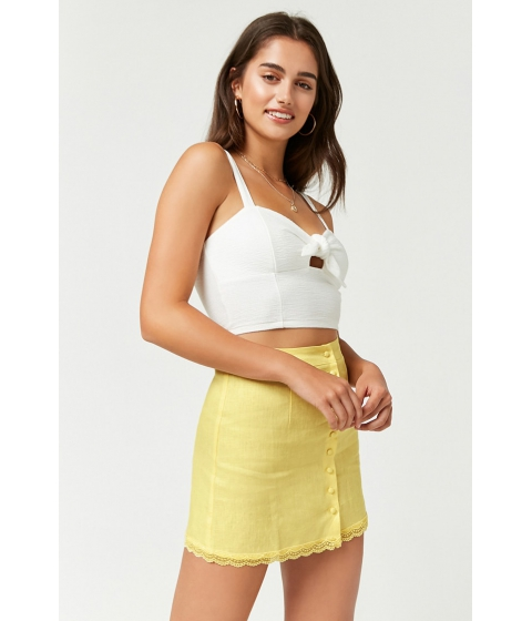 Imbracaminte Femei Forever21 Linen Button-Front Skirt LIGHT YELLOW