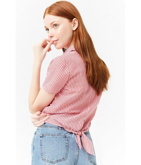 Imbracaminte Femei Forever21 Gingham Tie-Back Shirt REDCREAM