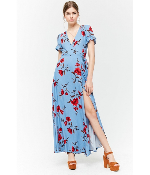 Imbracaminte Femei Forever21 Floral Wrap Dress BLUERED