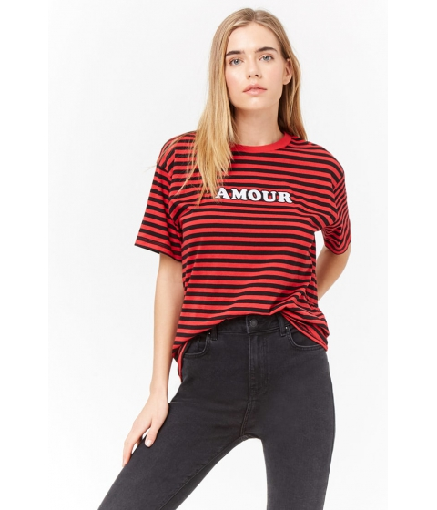 Imbracaminte Femei Forever21 Striped Amour Graphic Tee REDWHITE