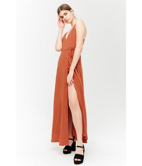 Imbracaminte Femei Forever21 Surplice Maxi Wrap Dress RUST