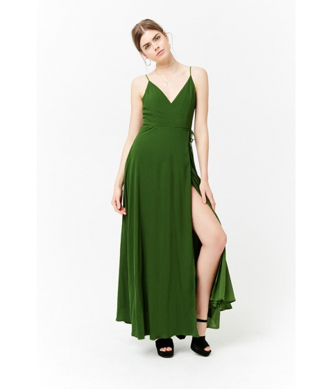 Imbracaminte Femei Forever21 Surplice Maxi Wrap Dress GREEN