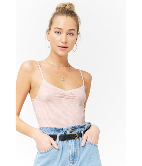 Imbracaminte Femei Forever21 Gingham Crop Cami LIGHT PINKIVORY