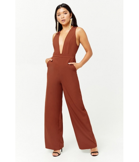 Imbracaminte Femei Forever21 Woven Plunging Jumpsuit RUST