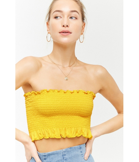 Imbracaminte Femei Forever21 Smocked Tube Top YELLOW