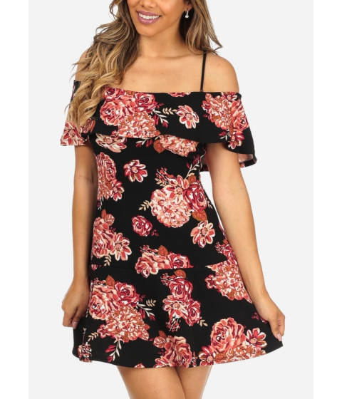 Imbracaminte Femei CheapChic Black Cold Shoulder Short Sleeve Floral Print Cute Above Knee Dress Multicolor