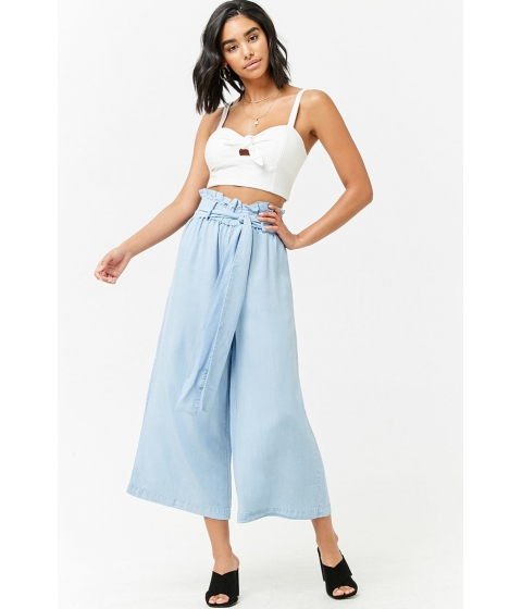 Imbracaminte Femei Forever21 High-Rise Chambray Culottes LIGHT DENIM