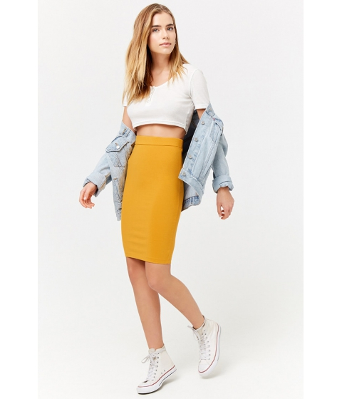 Imbracaminte Femei Forever21 Knit Pencil Skirt GOLD