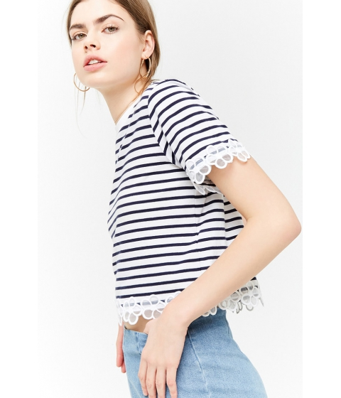Imbracaminte Femei Forever21 Striped Floral Trim Tee WHITENAVY