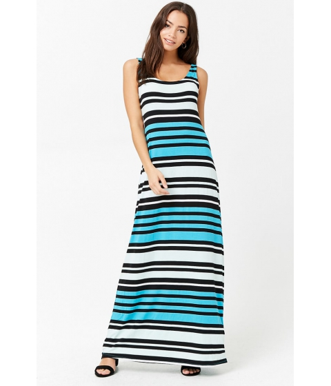 Imbracaminte Femei Forever21 Striped Colorblock Maxi Dress TURQUOISEMINT