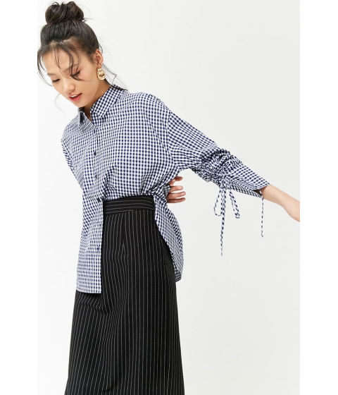 Imbracaminte Femei Forever21 Ruched Sleeve Gingham Shirt NAVYWHITE