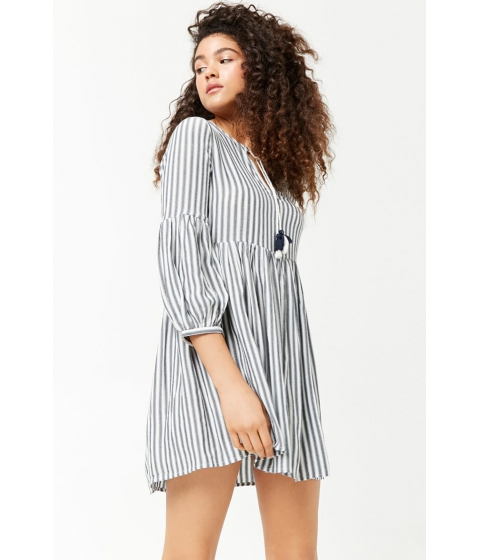 Imbracaminte Femei Forever21 Striped Split Neck Dress CREAMNAVY