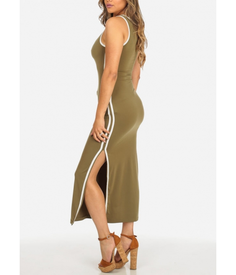 Imbracaminte Femei CheapChic Stylish Sleeveless Olive Round Neck Stretchy Side Slits Maxi Dress Multicolor