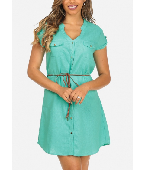 Imbracaminte Femei CheapChic Mint Color Button Up 2-Pocket Cap Sleeve Cute Dress w Belt Included Multicolor