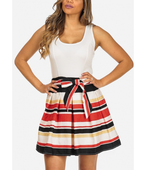 Imbracaminte Femei CheapChic Sleeveless Stripe Print Above Knee Dress with Matching Belt Included Multicolor