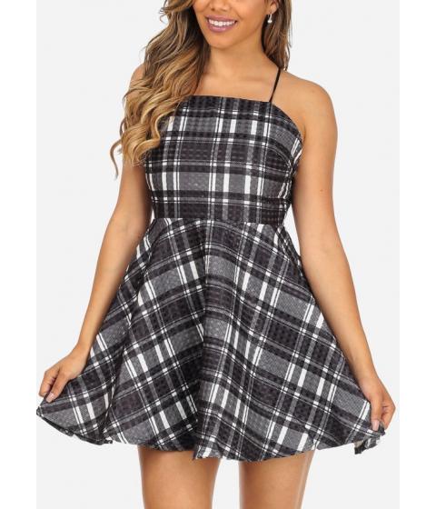 Imbracaminte Femei CheapChic Black Plaid Print Spaghetti Strap Open Back Fit-and-Flare Cute Dress Multicolor