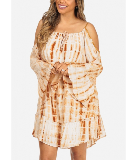 Imbracaminte Femei CheapChic Taupe Tie-Dye Print Cold Shoulder Long Sleeve Loose Fit Trendy Dress Multicolor
