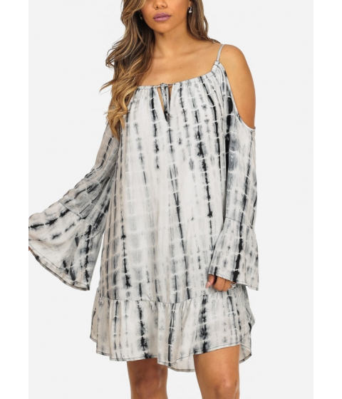 Imbracaminte Femei CheapChic Black Tie-Dye Print Cold Shoulder Long Sleeve Loose Fit Trendy Dress Multicolor