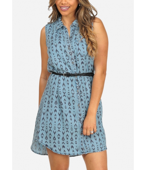 Imbracaminte Femei CheapChic Blue Printed Sleeveless Button Up Above Knee Dress w Belt Included Multicolor
