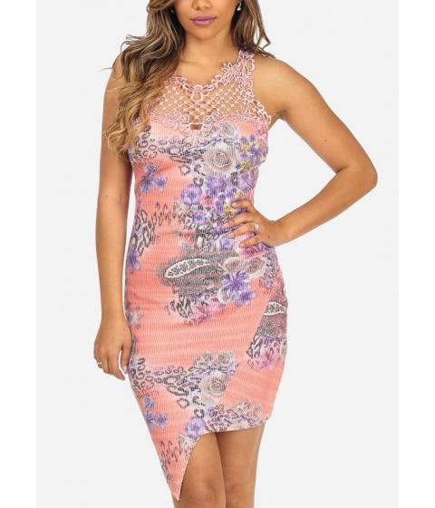 Imbracaminte Femei CheapChic Pink Sleeveless Floral Print Crochet Details Asymmetrical Hem Dress Multicolor