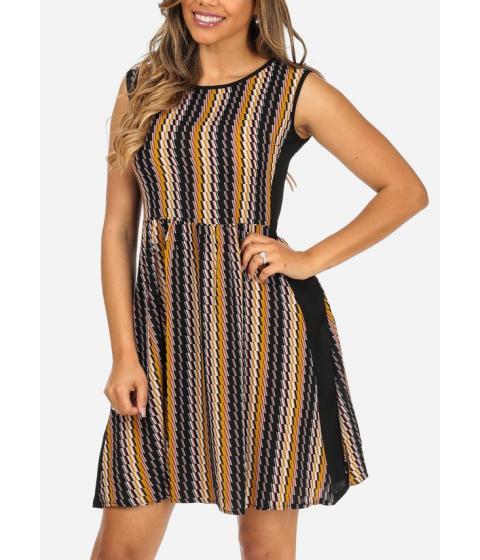 Imbracaminte Femei CheapChic Lightweight Black Printed Sleeveless Elastic Waist Above Knee Dress Multicolor