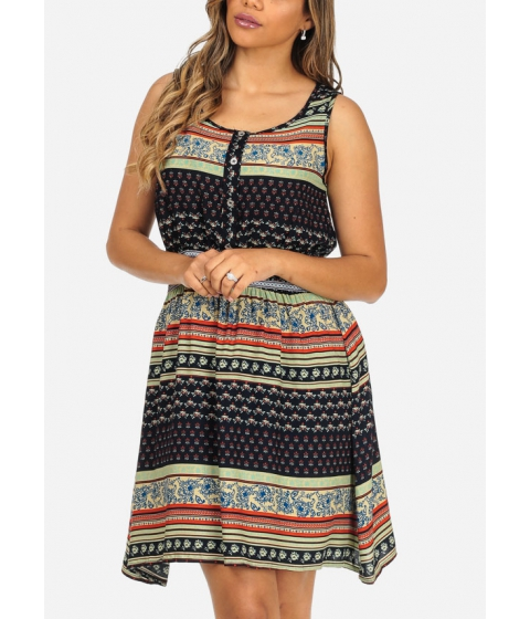 Imbracaminte Femei CheapChic Navy Printed Sleeveless Lightweight Elastic Waist Above Knee Dress Multicolor
