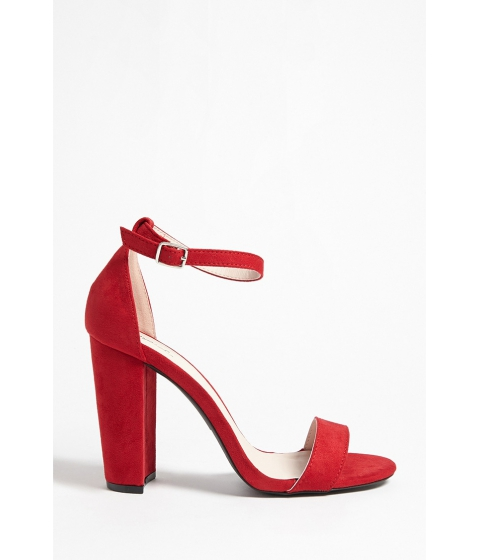 Incaltaminte Femei Forever21 Faux Suede Ankle-Strap Heels RED