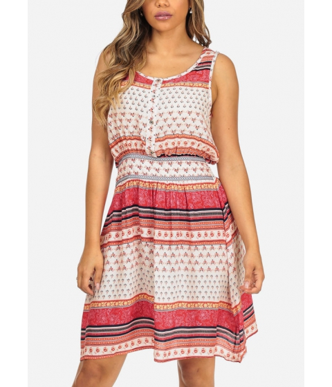 Imbracaminte Femei CheapChic White Printed Sleeveless Lightweight Elastic Waist Above Knee Dress Multicolor